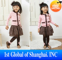 Free shipping children's cute suit cardigan + skirt for girl thin style for summer and spring wholesale and retail