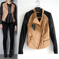 New arrival fashion PU fashion short jacket color block decoration women&#39;s zar