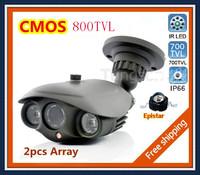 "New Arrival 1/3""CMOS 800TVL IR-CUT Filter 2pcs Array Lamps Indoor/Outdoor Waterproof IR Security CCTV Camera with Bracket POWER"