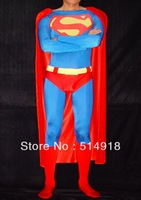 Lycra Spandex Material Blue and Red Superman Halloween Costumes Zentai Suits With Cloak