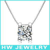 Single stone necklace, 5ct diamond necklace(cubic zirconia stone). sterling silver 925 jewelry.