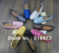 Free shipping summer sequins leisure flat canvas shoes,nine red. Coffee. Gray. Silver white. Black. Yellow. Pink. blue