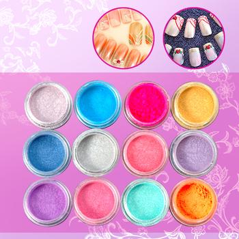 12 Color Nail Art Acrylic dust Pearl style Powder kit make up for false nail diy maniucre decoration NA297