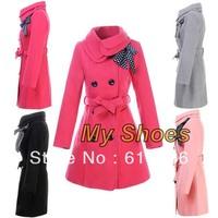 women's  Double-breasted Luxury Winter Wool Jacket the coat Black Three Size Wholesale 3351