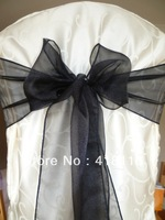 Free shipping 100 pcs /lot organza chair sashes  for chairs wholesale chair sashes