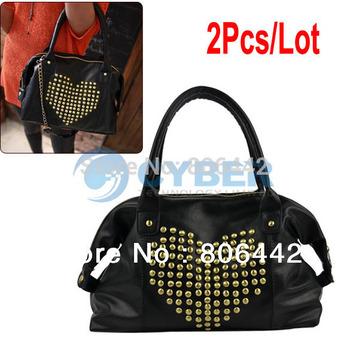 2Pcs/Lot Korea Fashion Women's Girl Synthetic Leather Heart Shape Rivet Handbag Shoulder Bage 2013  9887