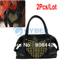 2Pcs/Lot Korea Fashion Women's Girl Synthetic Leather Heart Shape Rivet Handbag Shoulder Bage 2013  9887