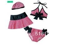 Free shipping 2013Girl Swimwear Kids Skirt type Swimwears Bikini Swimsuit Split Bathing Beachwear 4pcs suits