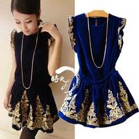 baroque vintage gold thread embroidery ruffle hem   high waist short skirt set twinset 929 sexy club wear