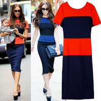 t double color block decoration elastic slim waist short-sleeve  2 ladies casual  dresses sequin Party dress gown