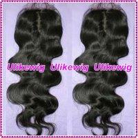 "AAAAA 2013 New Style 16"" #1b Body Wave Virgin Brazilian Hair Top Lace Closure(4""*4"")"