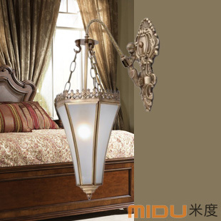 Fashion single head wall lamp american style antique bedside copper lamp lighting