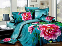 brand new pink peony floral pattern blue bedlinens cotton full/queen bedding sets 4pcs for comforter quilt/duvet cover sets