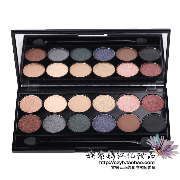 Sleek cosmetics 12 mineral eye shadow plate earth color nude makeup pearl nude color dull smoked(China (Mainland))