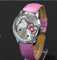 Wholesale New 2013 Luxury Brand Hello Kitty Men/Women Dress Leather Strap Quartz Watch 6 Colors,Christmas gifts