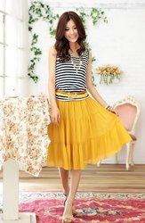 2013 summer ladies plus size dress clothing stripes vest mid-calf dress contrast 3 colors L-XXXXL