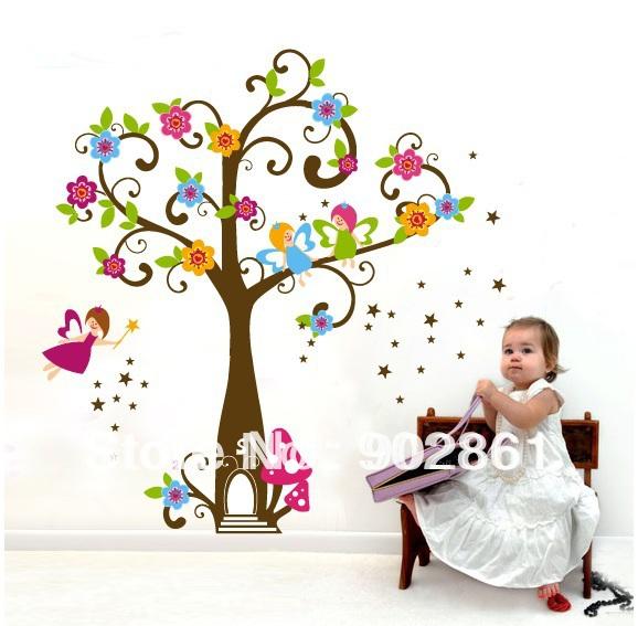 Grande fada Tree House adesivos de parede removível Repositionable para meninas(China (Mainland))