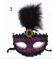 Black Head Feathers Printed Glitter Masks Mardi Gras Masquerade Venetian Halloween Costume Mask Free Shipping 100 pcs