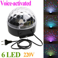 Mini Voice-activated LED RGB Crystal Magic Ball Effect Light Full Color Disco DJ Party Stage Lighting 220V  EU plug FreeShipping