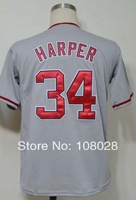 Free Shipping #34 Bryce Harper Men's Baseball Jersey,Sports Jersey,Embroidery logos,Size 48--56,Accept Mix Order
