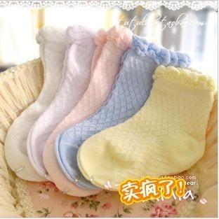 Free shipping- spring and summer 100% cotton thin socks cutout children socks plain laciness socks mesh breathable socks