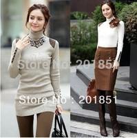 FreeShipping 2014 Spring Winter Autumn Women's Wool Casual Turtleneck Sweaters Elastic Slim Medium-Long Outerwear