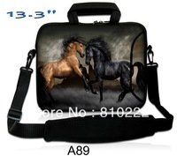 "13.3"" Double Zipper Netbook Laptop  bag Shoulder Message Bag Sleeve Case Cover With Outside Handle - STKA89 pair of horses"