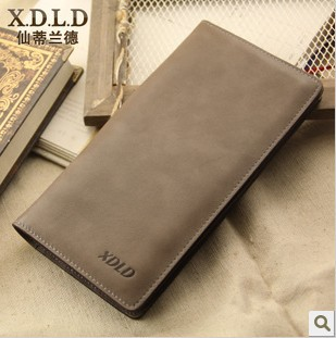 2013 Hot! 100% GENUINE LEATHER men's long wallet cowhide money clips case free shipping(China (Mainland))
