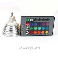 Wholesale Hot Sale MR16 3W 16 Color Changing RGB LED Light Bulb Lamp 12V + IR Remote Control 80298