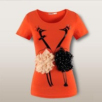 Romantic Swan Lovers O-neck T-shirt/ Women's Short-sleeve Tee/ Novelty Top Wear For Girls