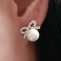 wholesale Bowknot imitation pearl earrings jewelry female earring Mei Stylish BE107