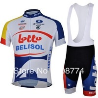 Fast Shipping Best Selling 2013 Lotto Biking Jersey(Upper)+Bib Short(Culot)/Cycle Wear/Made Of High Quality Polyester