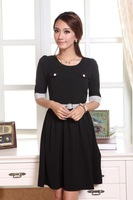Free shipping 2013 new sweet fashion elegant Slim dots splicing Sleeve Dress (Free Belt)