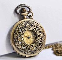 Wholesale Hot selling vintage Large gold carved pocket watch necklace free shopping