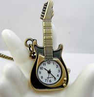 Bronze violin pocket watch necklace vintage accessories necklace fashion watch