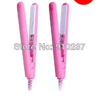 Mini Pink Ceramic Electronic hair straighteners AC110V-240V Straightening corrugated Iron Free shipping