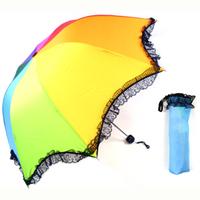 Rainbow umbrella folding umbrella lace decoration sun protection umbrella structurein princess wedding umbrella