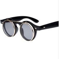 Fashion  round box metal vintage sunglasses personalized double layer flip dual-purpose sun glasses