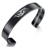 Mens Black 316L Stainless Steel Open Cuff Tribal Bracelet