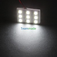 9LED 5050 led panel  12V  DC 5050SMD Reading Panel Car Interior Lamp Light LED Bulb T10+BA9S+Dome Three Adaptor Pure White
