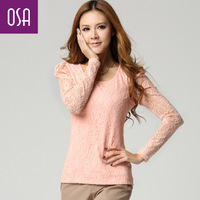 Osa2013 spring women's long-sleeve lace basic shirt t-shirt female o-neck top t31015