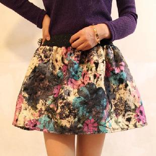 otoño e invierno cosecha engrosamiento busto bordado de lana falda falda corta 1013