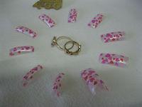 70PCS Sweet Pink Heart Acrylic French Half False Nail Tips Beauty Gift DIY Nail