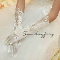 2014 Fast Free Shipping in Stock White Beaded Lace Elbow Appliques Wedding Gloves Hot Sale Top Quality Gloves -Glove51