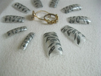 70PCS silver   TigerAcrylic French False Nail Tips Salon Nail
