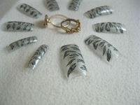 70PCS silver   TigerAcrylic French False Nail Tips Salon Nail