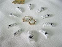 70PCS Spider Web Acrylic French False Nail Tips Salon Nail