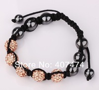 Free shipping Shamballa jewelry Wholesale, New Shamballa Bracelets Micro Pave CZ Disco Ball Bead Shamballa Bracelet,Mixed Color