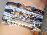 Karma Bracelet-Antique Silver Arrow Bracelet, Love Bracelet, Infinity Bracelet , Navy Blue Wax Cords and Braid Bracelet-L281