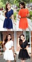Fashion Womens Bandage Halter Ruffles Summer Dress Chiffon Pocket Buttons Dress